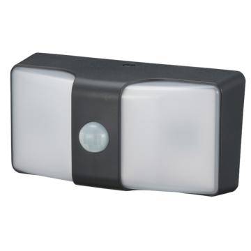 monban LEDセンサーウォールライト 乾電池式 ブラック [品番]06-4211