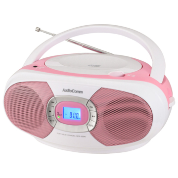 AudioComm ステレオCDラジオ ピンク [品番]03-7232