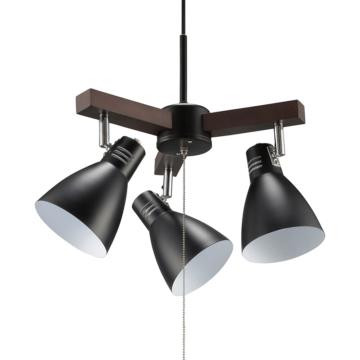 3灯ペンダントライト LED電球付 ブラック [品番]06-1500