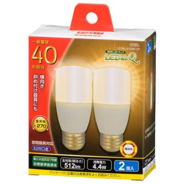 LED電球 T形 E26 40形相当 電球色 2個入 [品番]06-3745