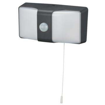 monban LEDセンサーウォールライト コンセント式 ブラック [品番]06-4213