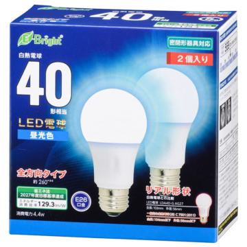 LED電球 E26 40形相当 全方向 昼光色 2個入り [品番]06-4351