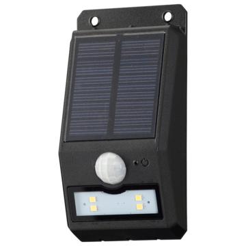 monban LEDセンサーウォールライト ソーラー 110lm 薄型ブラック [品番]06-4224
