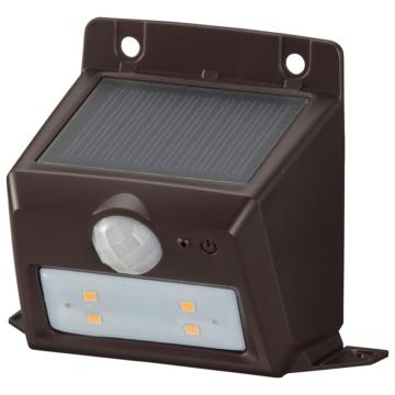 monban LEDセンサーウォールライト ソーラー 110lm 置型ブラウン [品番]06-4227