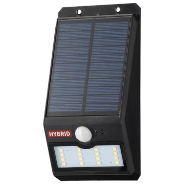 monban LEDセンサーウォールライト ソーラー 400lm 常夜灯付 ブラック [品番]06-4232