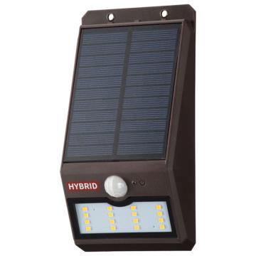 monban LEDセンサーウォールライト ソーラー 400lm 常夜灯付 ブラウン [品番]06-4233