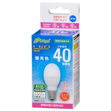 LED電球 小形 E17 40形相当 昼光色 [品番]06-4316