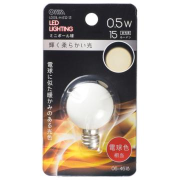 LEDミニボール球装飾用 G30/E12/0.5W/15lm/電球色 [品番]06-4618