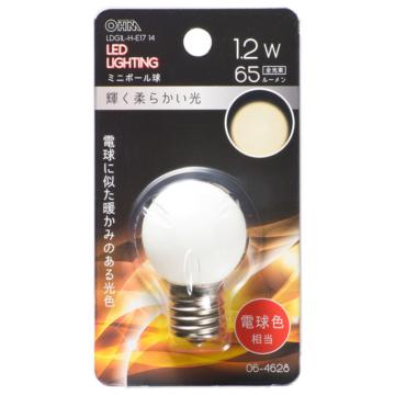 LEDミニボール球装飾用 G30/E17/1.2W/65lm/電球色 [品番]06-4628
