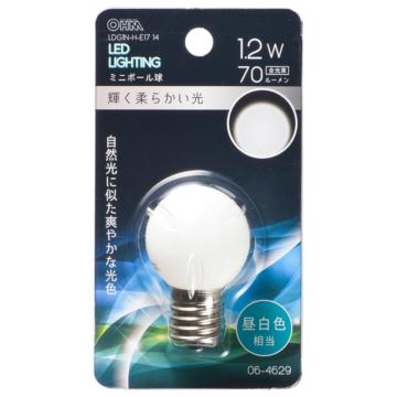 LEDミニボール球装飾用 G30/E17/1.2W/70lm/昼白色 [品番]06-4629