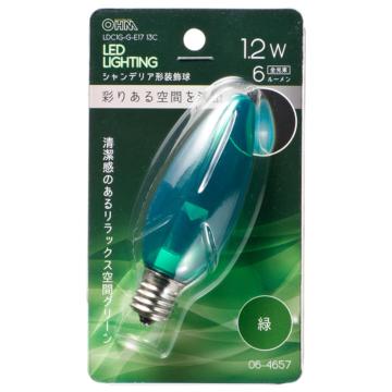 LEDシャンデリア形装飾用/C32/E17/1.2W/6lm/クリア緑色 [品番]06-4657