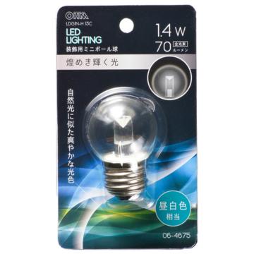 LEDミニボール球装飾用 G40/E26/1.4W/70lm/クリア昼白色 [品番]06-4675