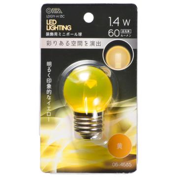 LEDミニボール球装飾用 G40/E26/1.4W/60lm/クリア黄色 [品番]06-4685