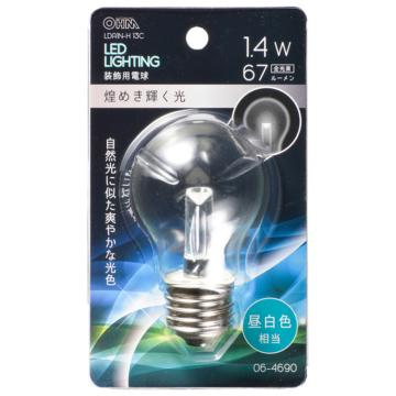 LED電球装飾用 PS/E26/1.4W/67lm/クリア昼白色 [品番]06-4690