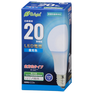 LED電球 E26 20形相当 昼光色 [品番]06-4339