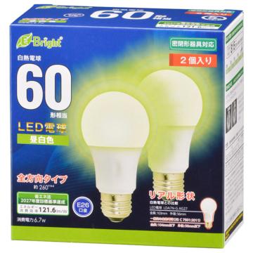 LED電球 E26 60形相当 昼白色 2個入 [品番]06-4353