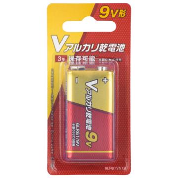 Vアルカリ乾電池 9V形 1本 [品番]08-4045