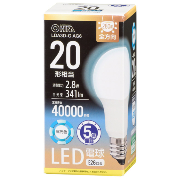LED電球 E26 20形相当 昼光色 [品番]06-3670