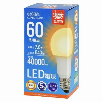 LED電球 E26 60形相当 電球色 [品番]06-3673