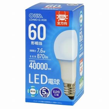 LED電球 E26 60形相当 昼光色 [品番]06-3674