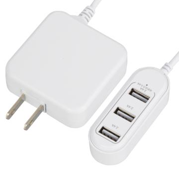 コード付きACアダプター USB電源タップ 3ポート [品番]01-3794