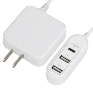 コード付きACアダプター USB電源TypeC+TypeA×2 [品番]01-3795