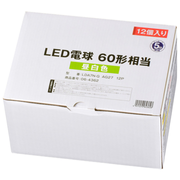 LED電球 E26 60形相当 昼白色 12個入り [品番]06-4362