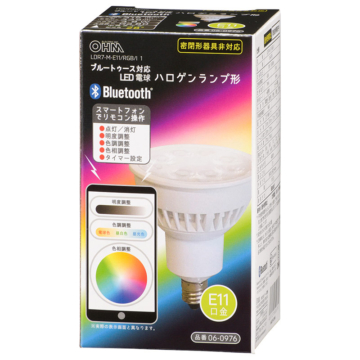 LED電球 ハロゲンランプ形 Bluetooth対応 E11 中角 調色/色相調整タイプ [品番]06-0976