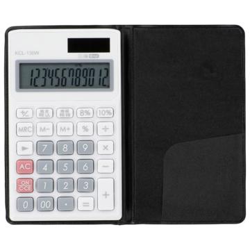 手帳タイプ電卓 税率切り替え 12桁 ホワイト [品番]07-8825