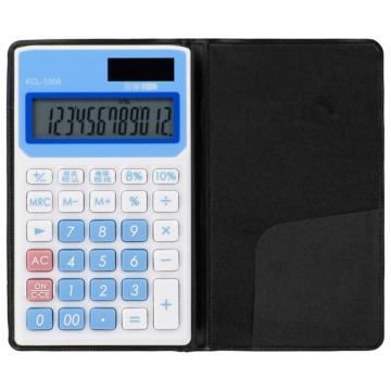 手帳タイプ電卓 税率切り替え 12桁 ブルー [品番]07-8827