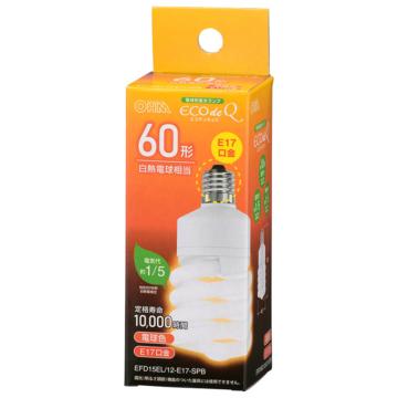 電球形蛍光灯 スパイラル形 E17 60形相当 電球色 エコデンキュウ [品番]06-3774
