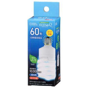 電球形蛍光灯 スパイラル形 E17 60形相当 昼光色 エコデンキュウ [品番]06-3775
