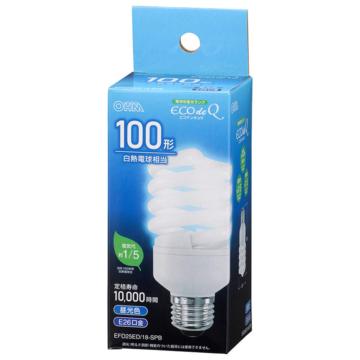 電球形蛍光灯 スパイラル形 E26 100形相当 昼光色 エコデンキュウ [品番]06-3777