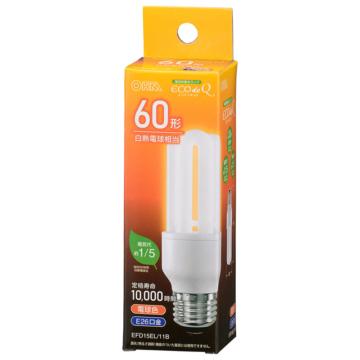電球形蛍光灯 D形 E26 60形相当 電球色 エコデンキュウ [品番]06-3778