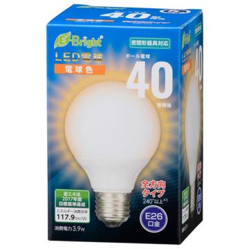 LED電球 ボール電球形 E26 40形相当 全方向 電球色 [品番]06-3595