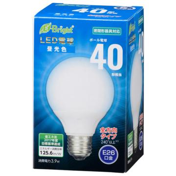 LED電球 ボール電球形 E26 40形相当 全方向 昼光色 [品番]06-3596