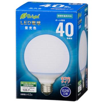 LED電球 ボール電球形 E26 40形 昼光色 全方向 [品番]06-4396