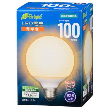 LED電球 ボール電球形 E26 100形 電球色 全方向 [品番]06-4400