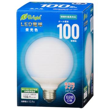 LED電球 ボール電球形 E26 100形 昼光色 全方向 [品番]06-4402