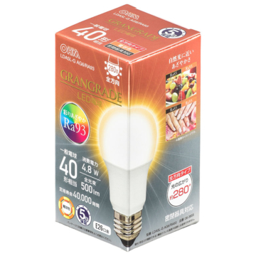 LED電球 E26 40形相当 電球色 [品番]06-3855