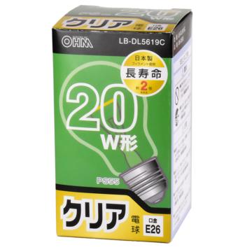 白熱電球 E26 20W形 クリア 長寿命 [品番]06-0593