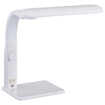 LED学習スタンド ACコンセント+USBポート付 ホワイト [品番]06-1946