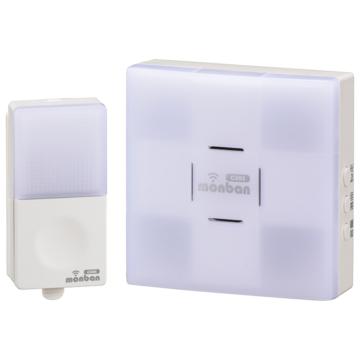 monban CUBE 押しボタン送信機+光フラッシュAC電源式受信機 [品番]08-0523