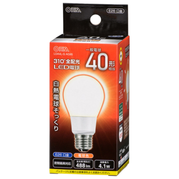 LED電球 E26 40形相当 電球色 [品番]06-3757