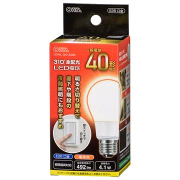 LED電球 E26 40形相当 3段階調光 電球色 [品番]06-3761