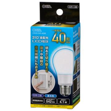 LED電球 E26 40形相当 3段階調光 昼光色 [品番]06-3762