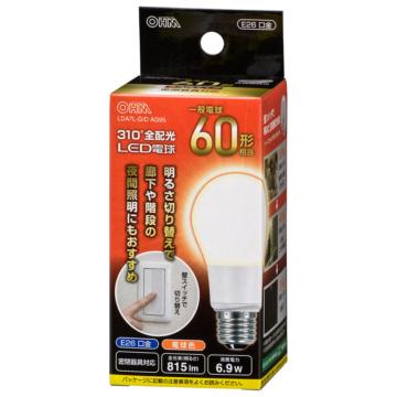 LED電球 E26 60形相当 3段階調光 電球色 [品番]06-3781