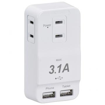 発煙ガード安全タップ 3個口 USBポート2個口付 白 [品番]00-1230