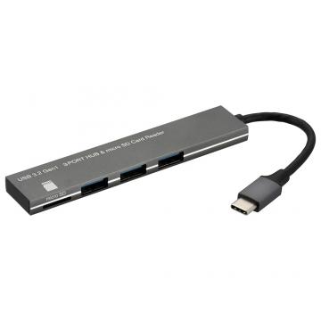 USBハブ 3ポート microSDカードリーダー付き USBType-Cコネクタ [品番]01-3976