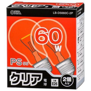 白熱電球 E26 60W形 クリア 2個入り [品番]06-0599